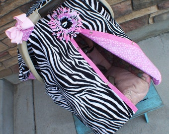 car seat canopy / Zebra and Pink