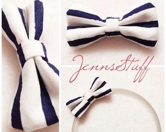 Navy and White Stripes - Nautical Mini Hair Bow
