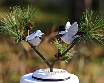 Handmade Black Capped Chickadee Love Birds Cake Topper