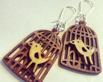 """25% off sale - Earrings - Wooden Birdcage - Dangle - """"On My Own"""""""