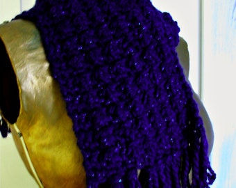 Royal Purple Hand Knit Scarf with Sparkle - Accessories Women/Teens