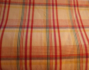 Fabric sale- Cotton plaid fabric with white background