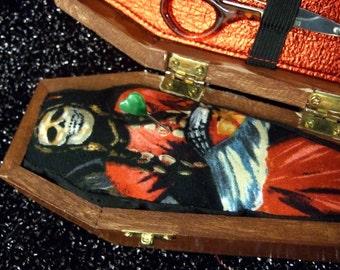 Day of the dead, dia de los muertos, coffin pin cushion