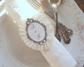 Wedding Rings. 10 Ruffled Napkin Rings with Script Paper and Initials