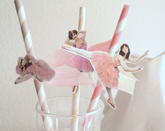 Twinkle Toes. Ten Rainbow Pastel Paper Straws with Dancing Darlings and Ribbon