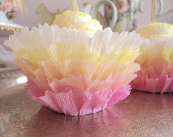 Sherbet Ruffles. Twelve Ruffled Crepe Cupcake Wrappers in Sherbet Shades