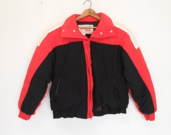 vintage 80s slouchy colorblock  down filled ski jacket