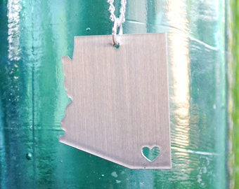 Bisbee Arizona Love Pendant on 18inch Sterling Silver Chain