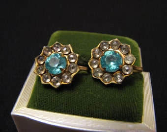Vintage Gold Tone and Aqua Diamond Rhinestone Flower Screwback Earrings