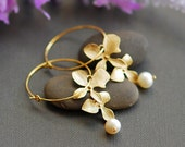 June birthstone earrings, pearl earrings, gold earrings, hoop earrings, Orchid earrings, Gold filled earrings, wedding earrings