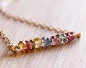 Multi-colour Mystic Quartz Gemstone Necklace - Wire Wrapped - 14K Gold Filled