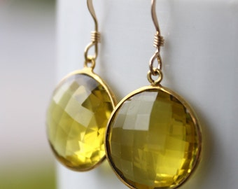Gold Yellow Lemon Quartz Dangle Earrings - Gemstone Earrings - 14Kt Gold Fill