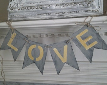 Distressed LOVE Chipboard Banner Mustard Yellow and Grey with Twine Great for Your Rustic Wedding