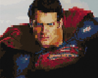 Superman Man of Steel Henry Cavill portrait counted Cross Stitch Pattern