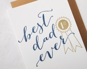 Letterpress Father's Day Card - Best Dad Ever - First Place Ribbon