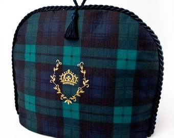 Tea Cozy / Cosy - Crown Crest ( Gold ) on Black Watch Tartan ( Ralph Lauren fabric ) With Tassel