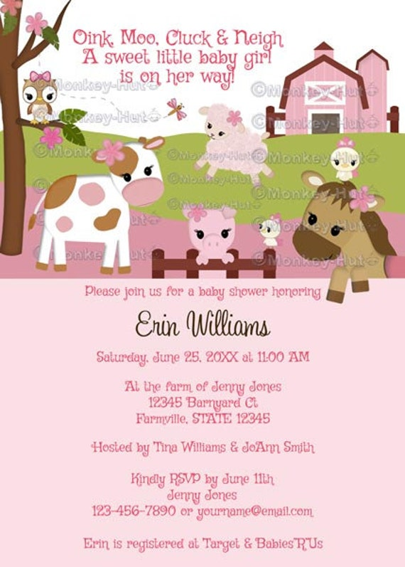 abby 39 s farm animal baby shower invitations barn animals pig horse