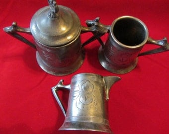 Antique Silver Plated Etched Silver Tea Set Creamer, Sugar Bowl and Waist Bowl 1940's, Serving Set Silver Plated, Antique Serving Set