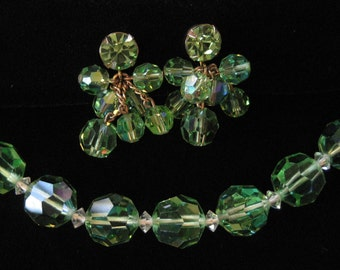 Accessocraft New York Green Crystal Necklace and Earring Set