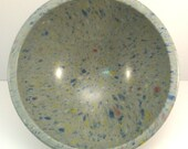 "Grey Confetti 10"" Texas Ware Confetti Bowl Vintage 1950s Medium Grey, Blue and Yellow Mixing Bowl Mid Century Melmac Snack Bowl"