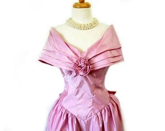 1960s Pastel Pink Dress Taffeta Bow Party Cocktail Prom Bow Dress