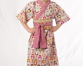 Kimono Dress in MATRYOSHKA DOLLS sizes girls 0 though 10 years - boutique girls dress  Japanese Asian Style Yukata
