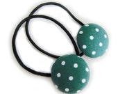 Button Ponytail Holders - Hunter Green Polka Dots