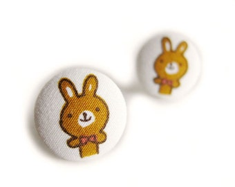Button Earrings / Button Clip On Earrings - rabbit earrings