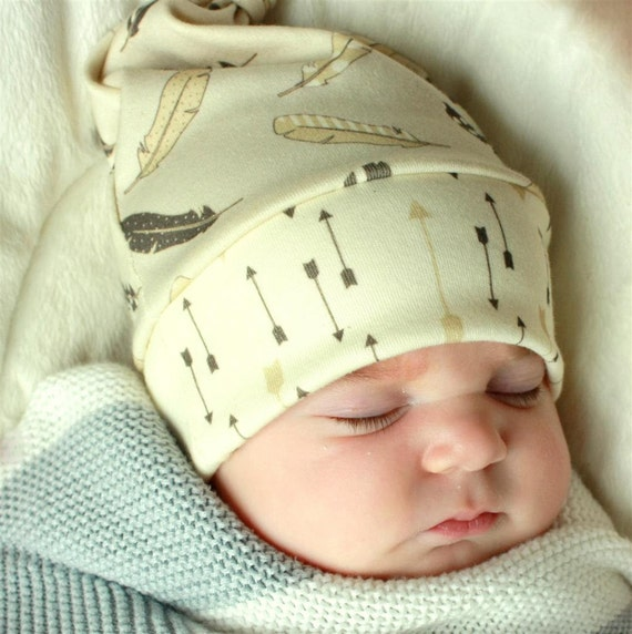 baby top knot hat greige/gray feathers and arrows.. organic cotton made to order