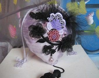 Lace Appliques Beaded Floral Flapper Girl Handbag