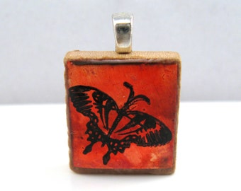 Red butterfly - Glowing metallic Scrabble tile pendant