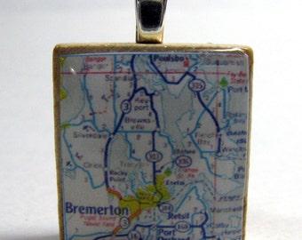 Bremerton, Washington - 1972 Scrabble tile map pendant - larger area