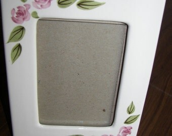 Shabby Chic VIntage ceramic   photo picture  frame  Handpainted  Pink roses