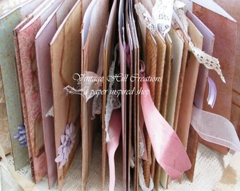 Wedding Guest Book- Blush Pink and Purples - Vintage Shabby Romantic - 8.5 X 11