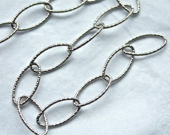1 Foot Statement Italian 925 Sterling Silver chain 7mm x 14mm Textured Long Oval Chain M/RW090D