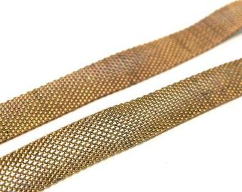 3 x feet  Antique brass and steel mesh chain, nos supply
