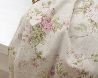 7 Yards of Watercolor Floral linen blended Wide 140cm, U6042