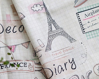 Lovely illus and Eiffel tower on linen blended, U7060