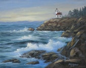 Lime Kiln Lighthouse painting