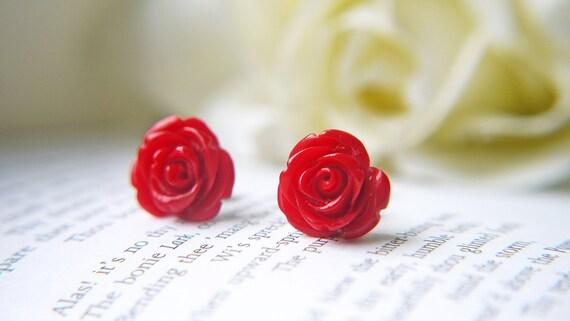 Red Rose Titanium Stud Earring Simple Everyday Dainty Romantic Post Earrings