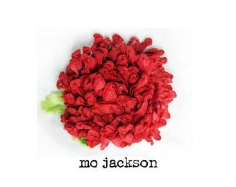 handmade flower pin / brooch red ribbon