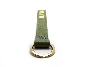 LARGE Monogrammed Leather Keychain, Large Model, for your Wrist, Loop, Sage Green Leather