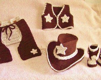 Baby cowboy costume set boots and hat vest chaps and ...
