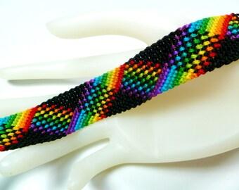 Rainbow and Black Plaid Friendship Bracelet (Nine Colors)