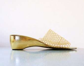 Vintage 1970s Gold Sandals Metallic Summer Wedges Heels Sheer Cut-Out Open Toe Shoes 6