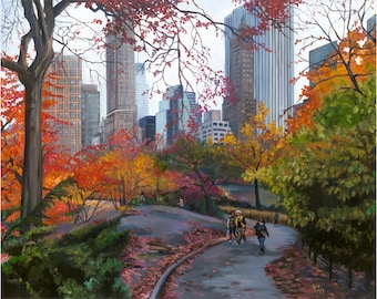 NYC Central Park Oil Painting - 15x12in Giclee Print