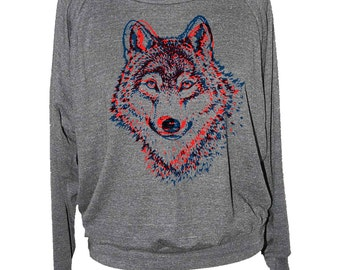 Womens WOLF SWEATSHIRT long sleeve pullover -- american apparel raglan S M L -- skip n whistle