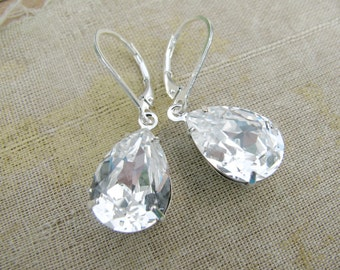 Swarovski Pear Teardrop Earrings-Adela Collection-Crystal with Sterling Silver