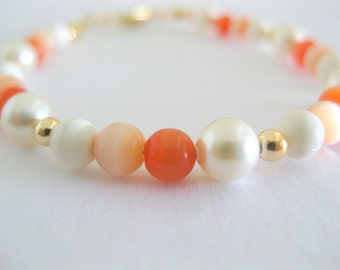 Sweet and dainty tangerine mix gemstone bracelet for everyday