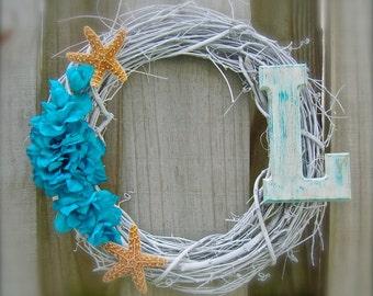 Starfish Wreath-AQUA TEAL-Personalized Beach Starfish Wreath, Summer Wreath, Starfish Home Decor, Coastal Home Decor, Hostess Gift, Weddings